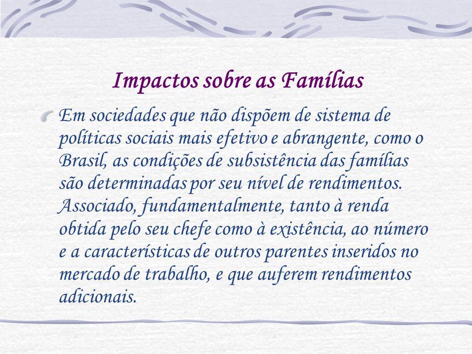 Impactos sobre as Famílias Em sociedades que não dispõem de sistema de políticas sociais mais efetivo e abrangente, como o Brasil, as condições de sub