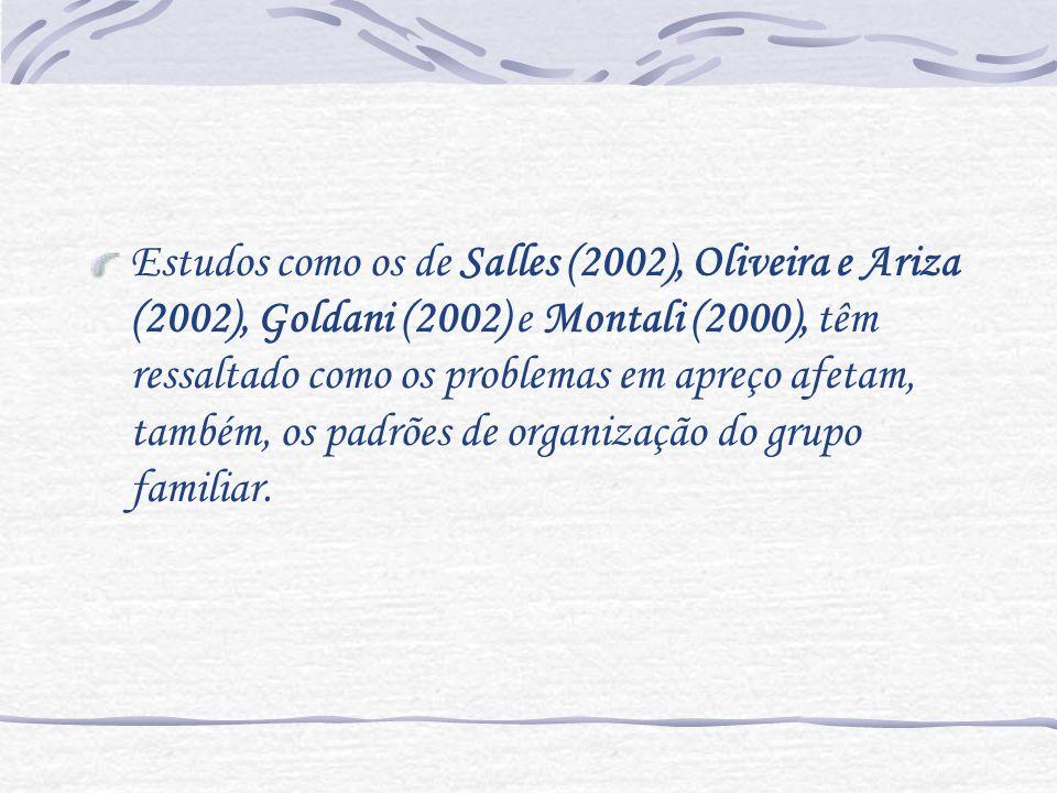 Estudos como os de Salles (2002), Oliveira e Ariza (2002), Goldani (2002) e Montali (2000), têm ressaltado como os problemas em apreço afetam, também,