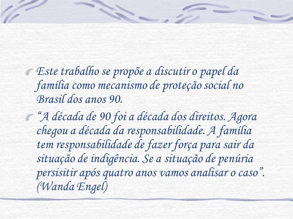 Este trabalho se propõe a discutir o papel da família como mecanismo de proteção social no Brasil dos anos 90. A década de 90 foi a década dos direito
