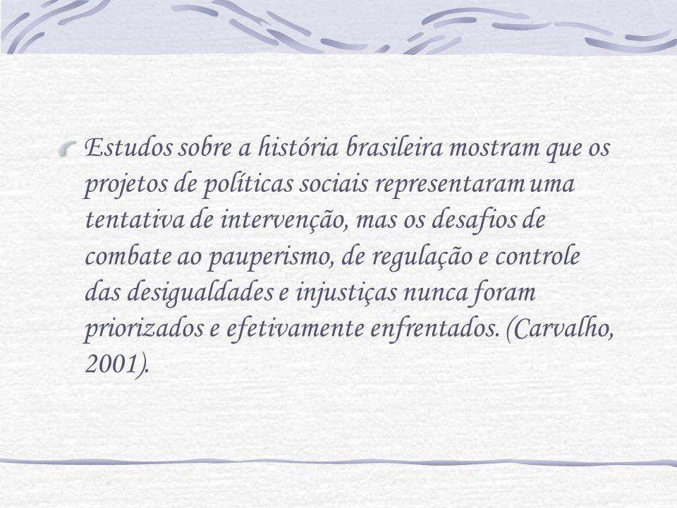 Estudos sobre a história brasileira mostram que os projetos de políticas sociais representaram uma tentativa de intervenção, mas os desafios de combat