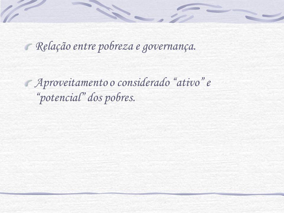 Relação entre pobreza e governança. Aproveitamento o considerado ativo e potencial dos pobres.