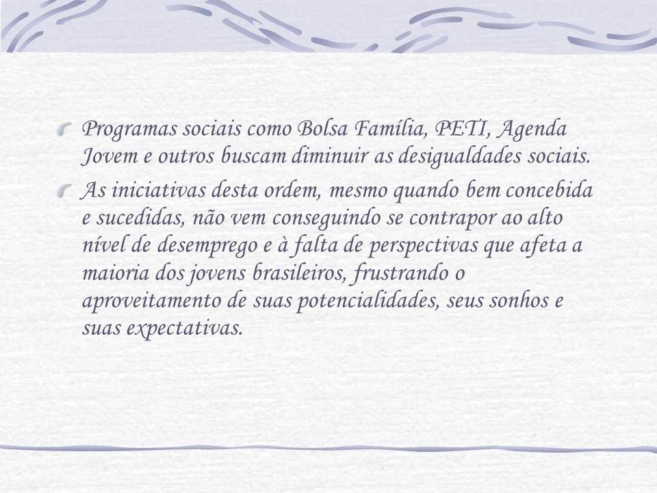 Programas sociais como Bolsa Família, PETI, Agenda Jovem e outros buscam diminuir as desigualdades sociais. As iniciativas desta ordem, mesmo quando b