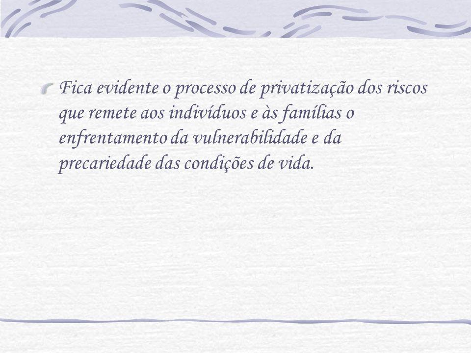 Fica evidente o processo de privatização dos riscos que remete aos indivíduos e às famílias o enfrentamento da vulnerabilidade e da precariedade das c