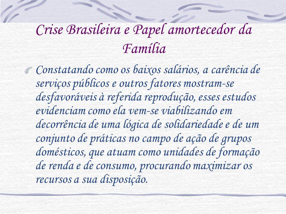 Estudos como os de Salles (2002), Oliveira e Ariza (2002), Goldani (2002) e Montali (2000), têm ressaltado como os problemas em apreço afetam, também, os padrões de organização do grupo familiar.