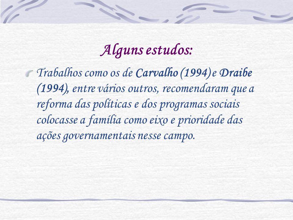 Alguns estudos: Trabalhos como os de Carvalho (1994) e Draibe (1994), entre vários outros, recomendaram que a reforma das políticas e dos programas so
