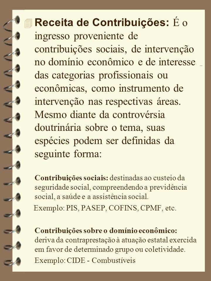 Receita de Contribuições: É o ingresso proveniente de contribuições sociais, de intervenção no domínio econômico e de interesse das categorias profissionais ou econômicas, como instrumento de intervenção nas respectivas áreas.