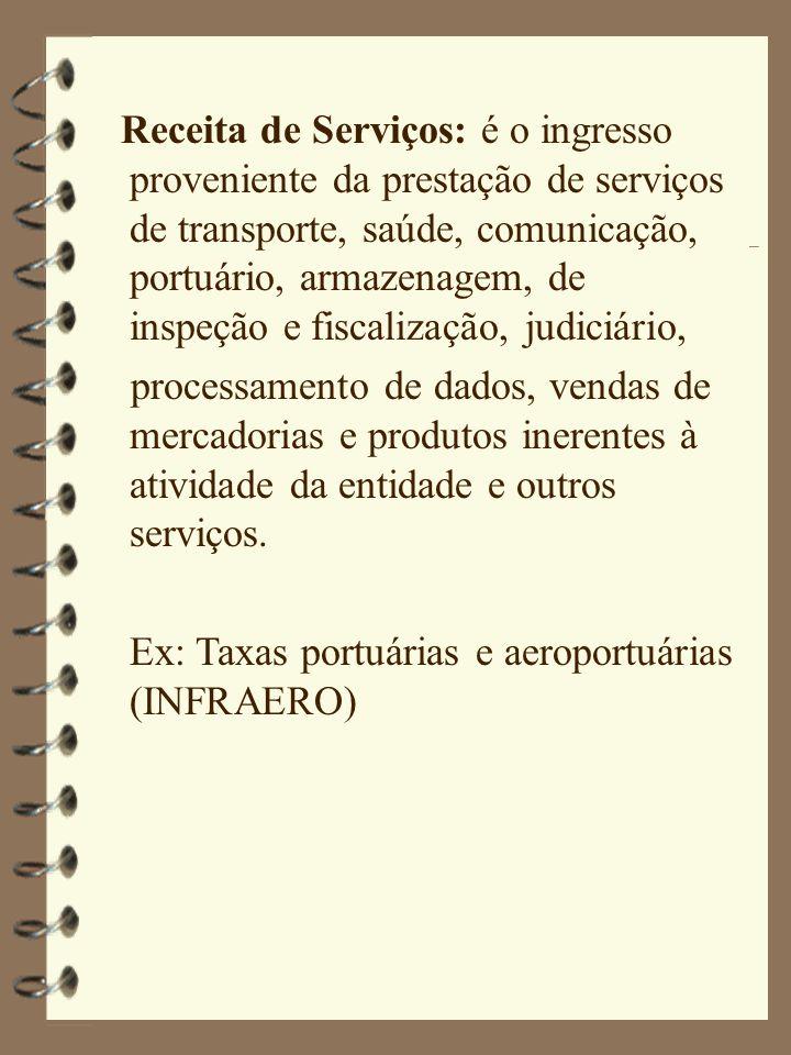 Receita de Serviços: é o ingresso proveniente da prestação de serviços de transporte, saúde, comunicação, portuário, armazenagem, de inspeção e fiscal