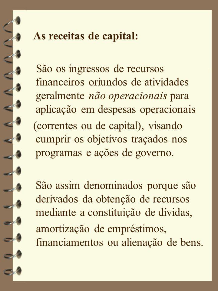 As receitas de capital: São os ingressos de recursos financeiros oriundos de atividades geralmente não operacionais para aplicação em despesas operacionais (correntes ou de capital), visando cumprir os objetivos traçados nos programas e ações de governo.