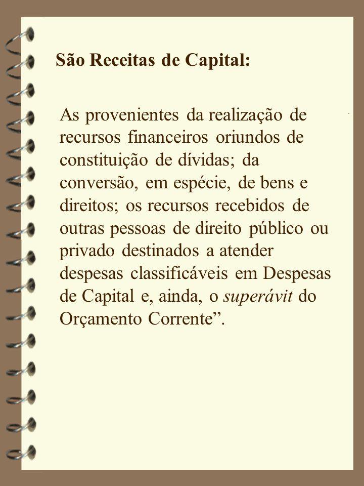 São Receitas de Capital: As provenientes da realização de recursos financeiros oriundos de constituição de dívidas; da conversão, em espécie, de bens