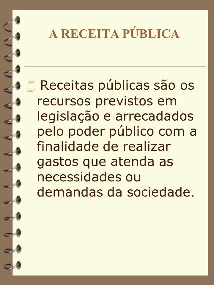 A RECEITA PÚBLICA Receitas públicas são os recursos previstos em legislação e arrecadados pelo poder público com a finalidade de realizar gastos que atenda as necessidades ou demandas da sociedade.