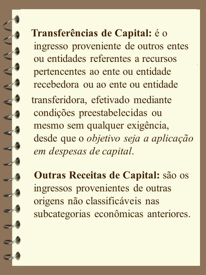 Transferências de Capital: é o ingresso proveniente de outros entes ou entidades referentes a recursos pertencentes ao ente ou entidade recebedora ou