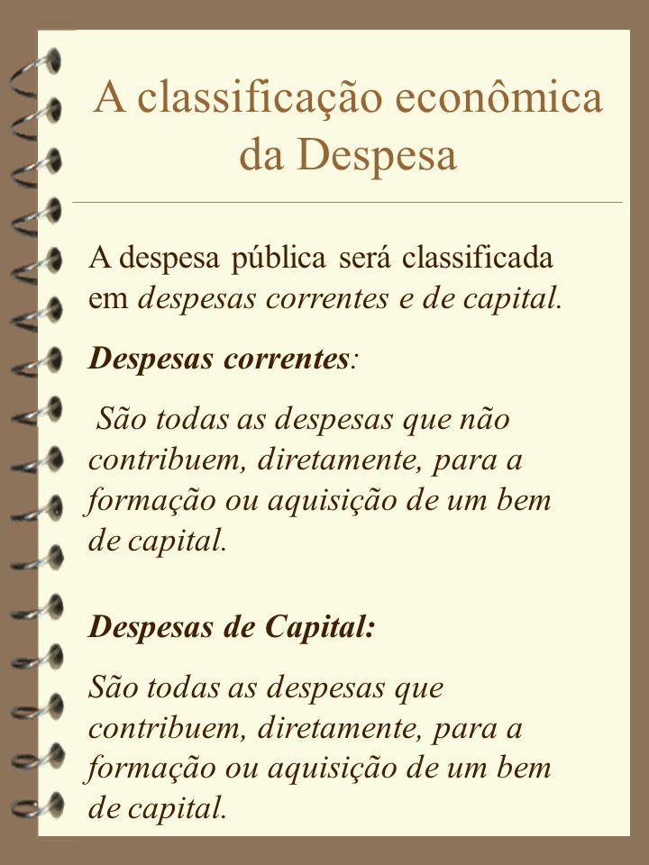 A classificação econômica da Despesa A despesa pública será classificada em despesas correntes e de capital.