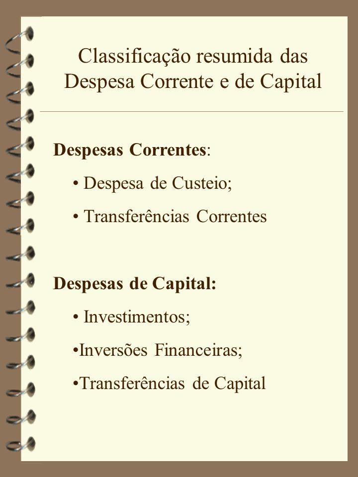 Classificação resumida das Despesa Corrente e de Capital Despesas Correntes: Despesa de Custeio; Transferências Correntes Despesas de Capital: Investimentos; Inversões Financeiras; Transferências de Capital