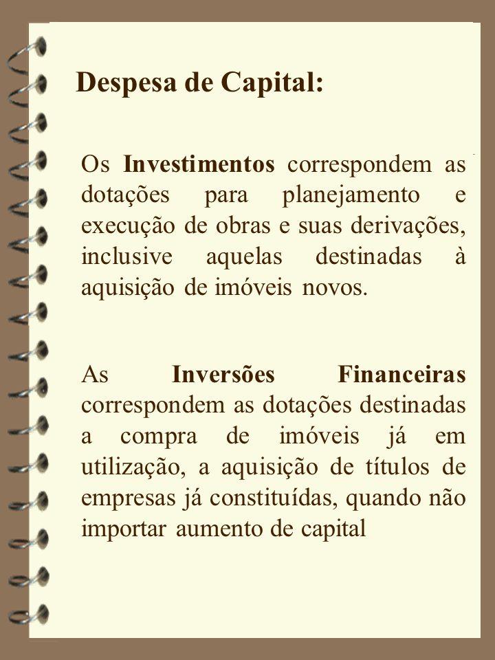 Despesa de Capital: Os Investimentos correspondem as dotações para planejamento e execução de obras e suas derivações, inclusive aquelas destinadas à aquisição de imóveis novos.