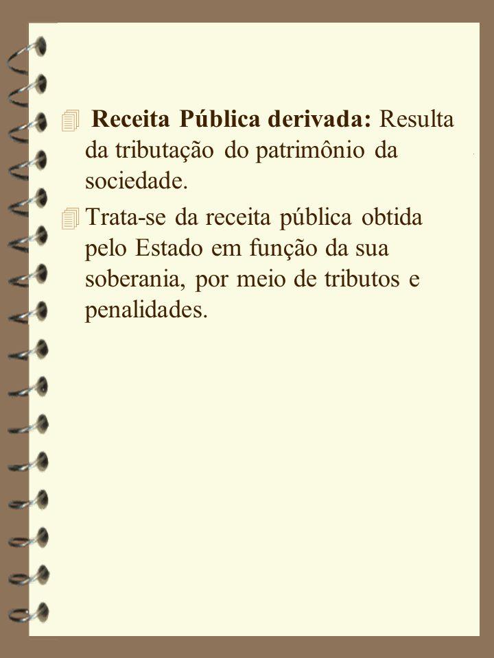 4 Receita Pública derivada: Resulta da tributação do patrimônio da sociedade.