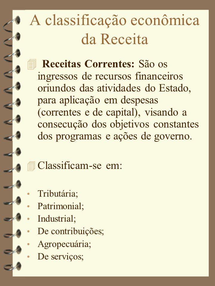 A classificação econômica da Receita Receitas Correntes: São os ingressos de recursos financeiros oriundos das atividades do Estado, para aplicação em