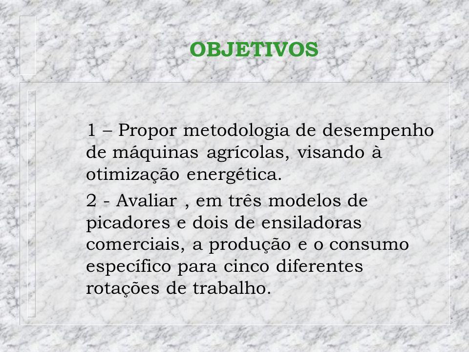OBJETIVOS 1 – Propor metodologia de desempenho de máquinas agrícolas, visando à otimização energética. 2 - Avaliar, em três modelos de picadores e doi