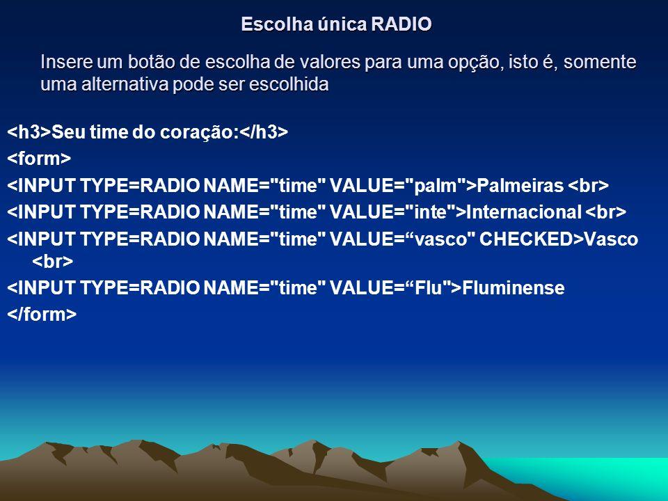Insere um botão de escolha de valores para uma opção, isto é, somente uma alternativa pode ser escolhida Seu time do coração: Palmeiras Internacional Vasco Fluminense Escolha única RADIO