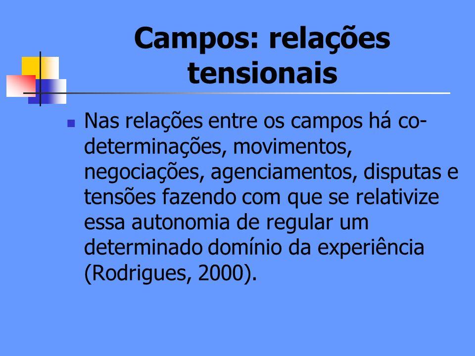 Campos: relações tensionais Nas relações entre os campos há co- determinações, movimentos, negociações, agenciamentos, disputas e tensões fazendo com que se relativize essa autonomia de regular um determinado domínio da experiência (Rodrigues, 2000).