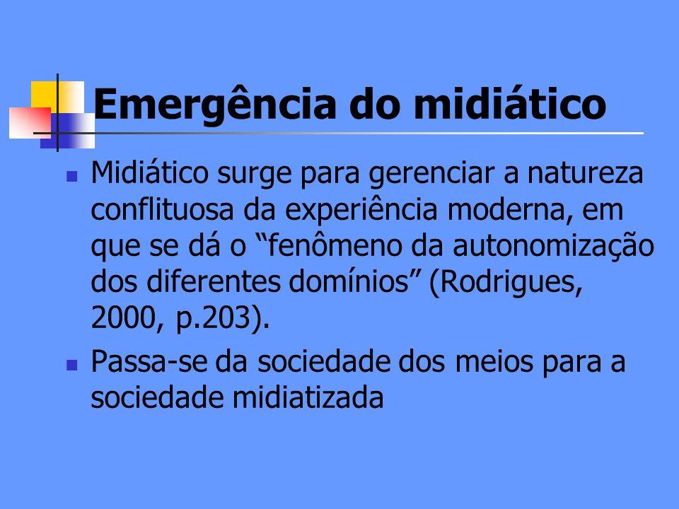 Emergência do midiático Midiático surge para gerenciar a natureza conflituosa da experiência moderna, em que se dá o fenômeno da autonomização dos diferentes domínios (Rodrigues, 2000, p.203).