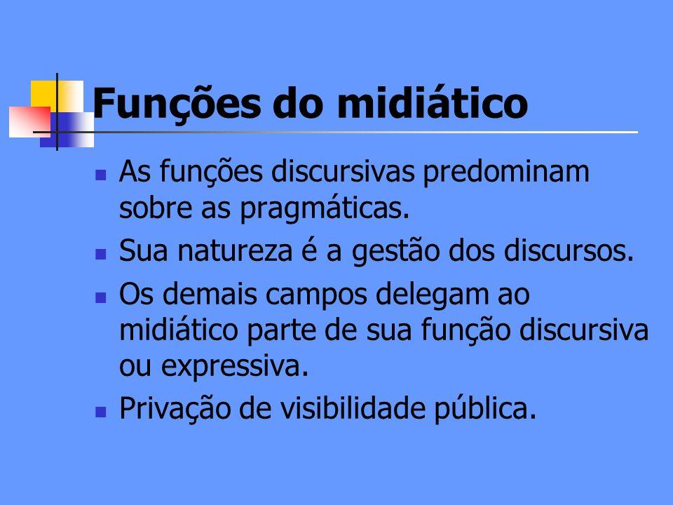 Funções do midiático As funções discursivas predominam sobre as pragmáticas.