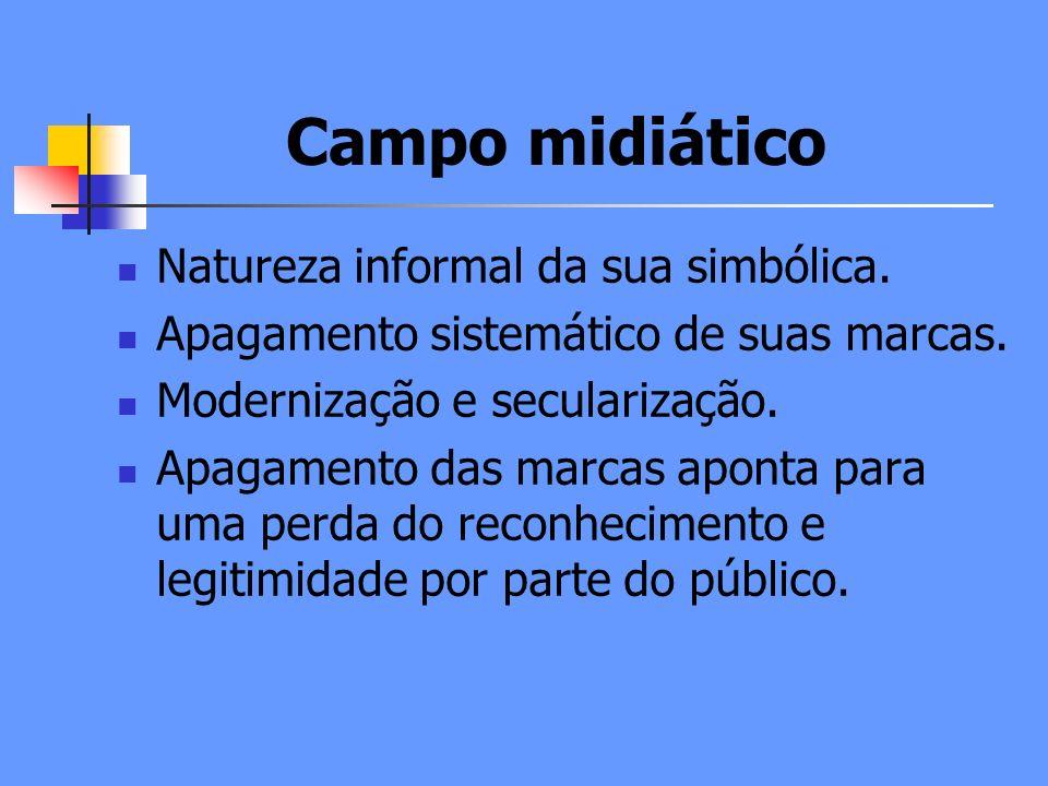 Campo midiático Natureza informal da sua simbólica.
