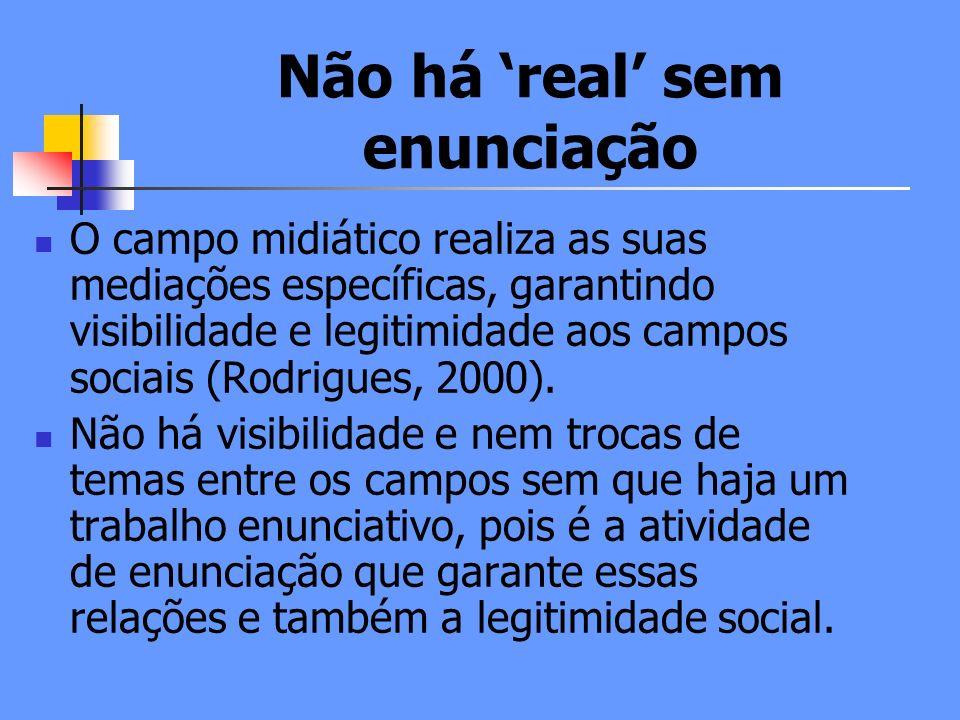 Não há real sem enunciação O campo midiático realiza as suas mediações específicas, garantindo visibilidade e legitimidade aos campos sociais (Rodrigues, 2000).
