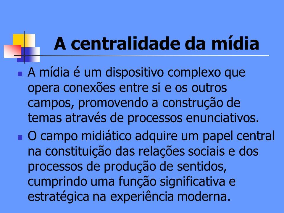 A centralidade da mídia A mídia é um dispositivo complexo que opera conexões entre si e os outros campos, promovendo a construção de temas através de processos enunciativos.
