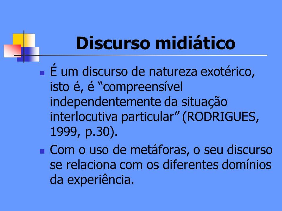 Discurso midiático É um discurso de natureza exotérico, isto é, é compreensível independentemente da situação interlocutiva particular (RODRIGUES, 1999, p.30).