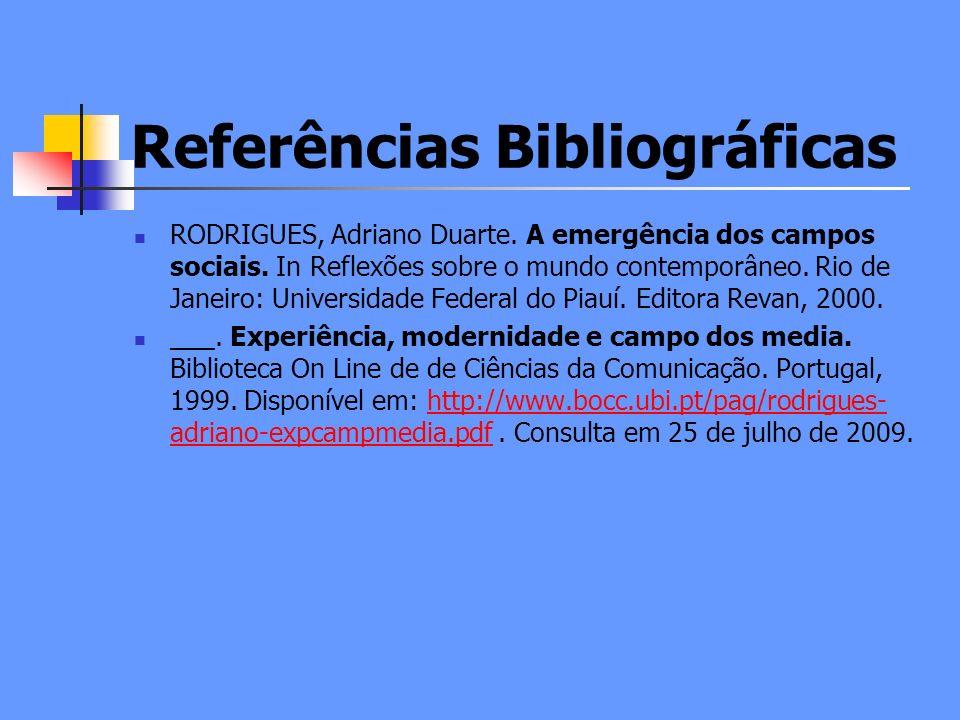 Referências Bibliográficas RODRIGUES, Adriano Duarte.