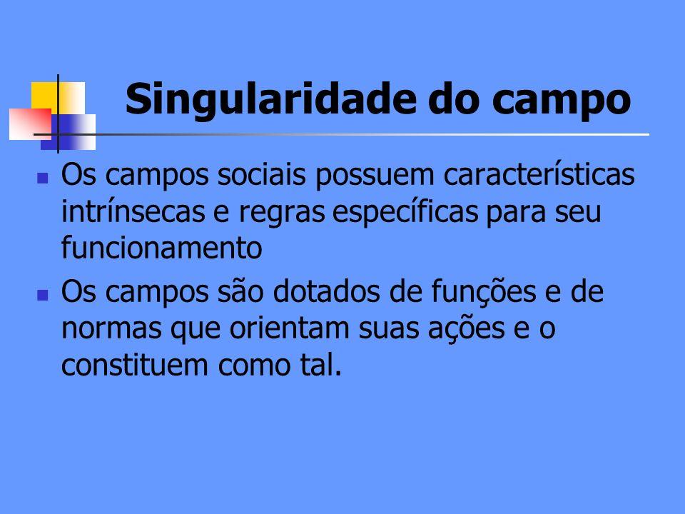 Singularidade do campo Os campos sociais possuem características intrínsecas e regras específicas para seu funcionamento Os campos são dotados de funções e de normas que orientam suas ações e o constituem como tal.