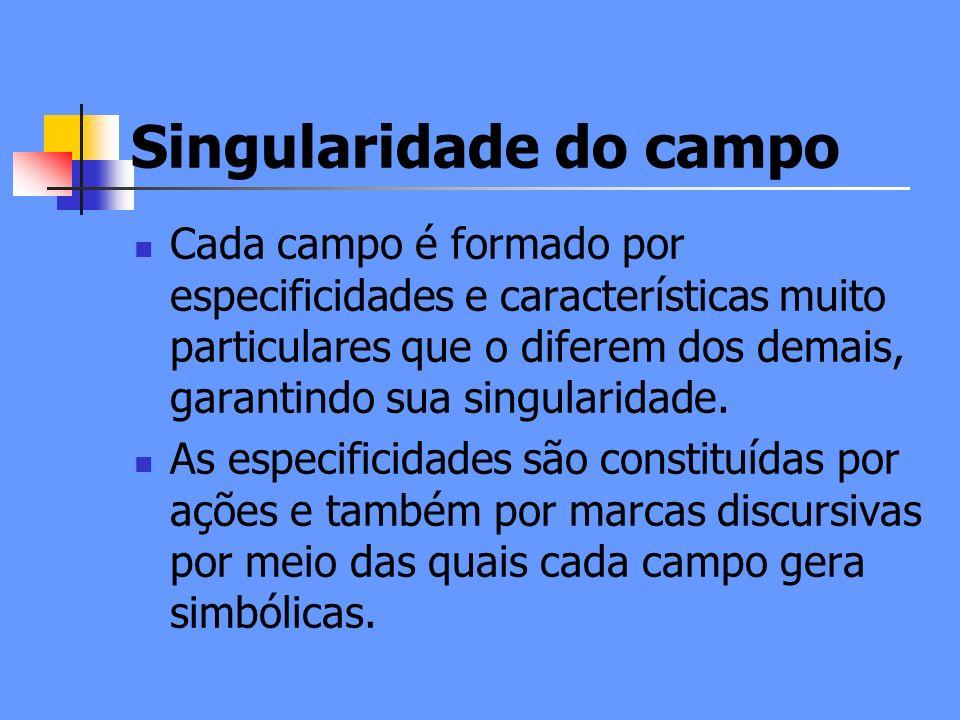 Singularidade do campo Cada campo é formado por especificidades e características muito particulares que o diferem dos demais, garantindo sua singularidade.