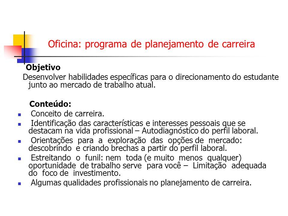Oficina: programa de planejamento de carreira Objetivo Desenvolver habilidades específicas para o direcionamento do estudante junto ao mercado de trab