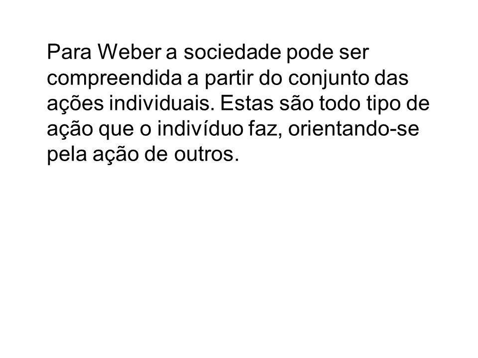 Weber estabeleceu quatro tipos de ação social.