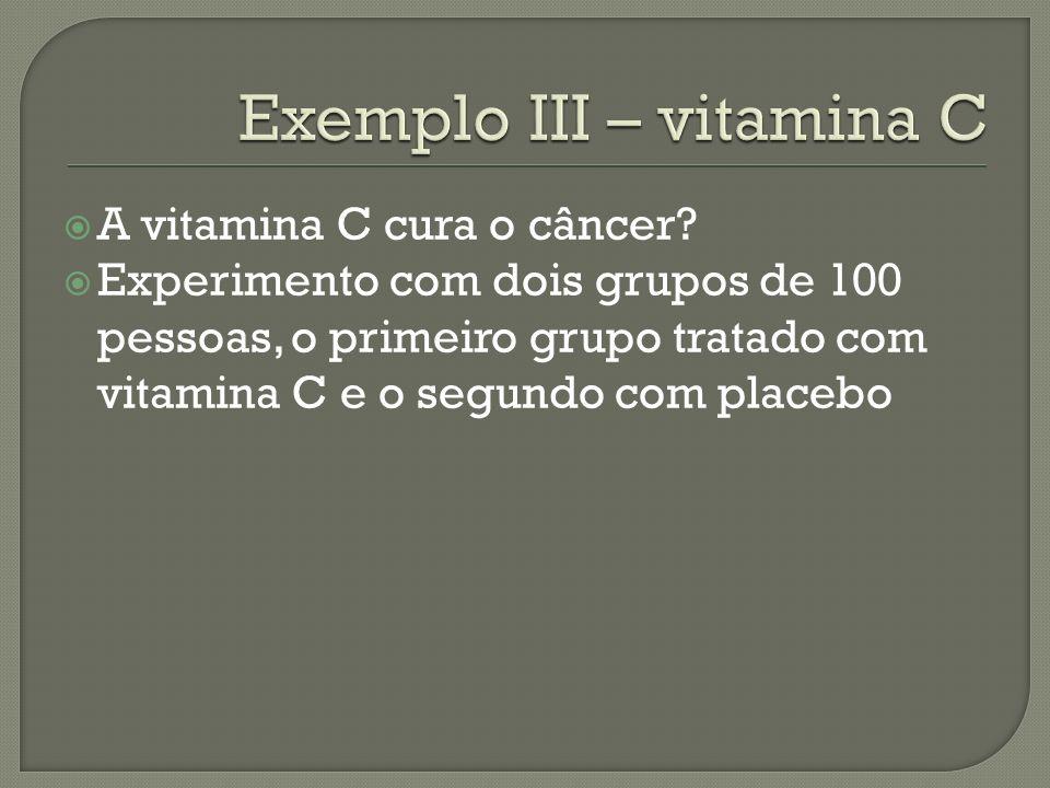 A vitamina C cura o câncer? Experimento com dois grupos de 100 pessoas, o primeiro grupo tratado com vitamina C e o segundo com placebo
