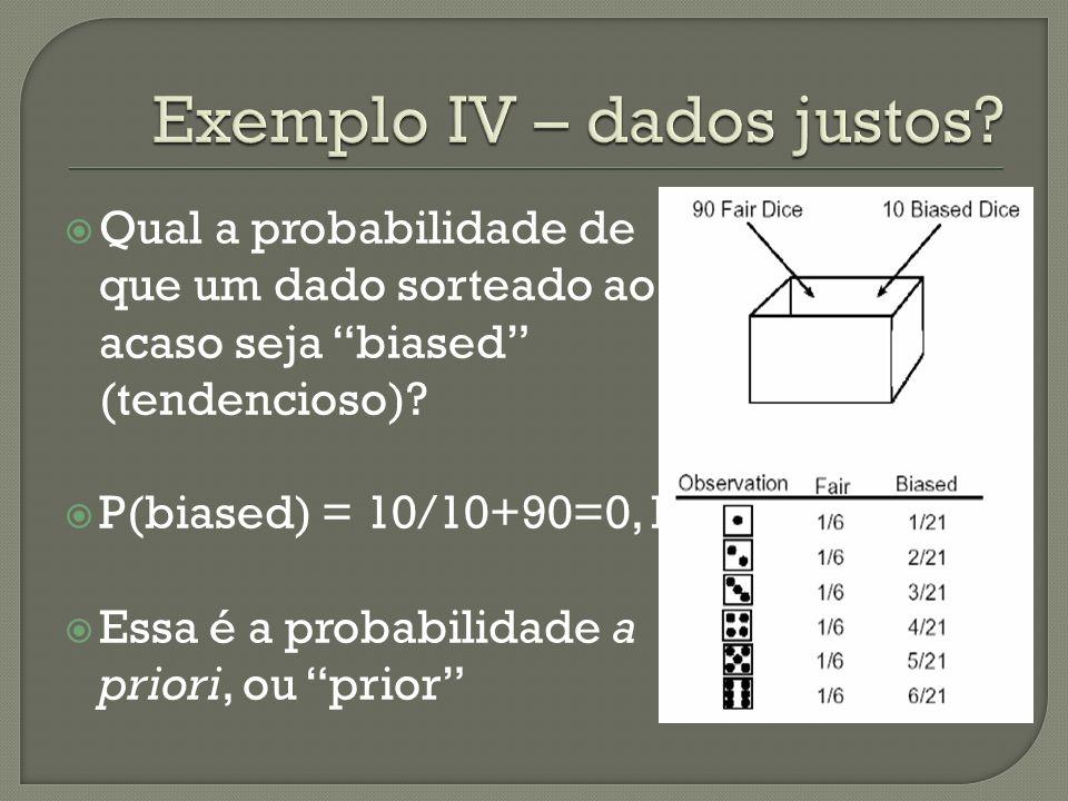 Qual a probabilidade de que um dado sorteado ao acaso seja biased (tendencioso)? P(biased) = 10/10+90=0,1 Essa é a probabilidade a priori, ou prior