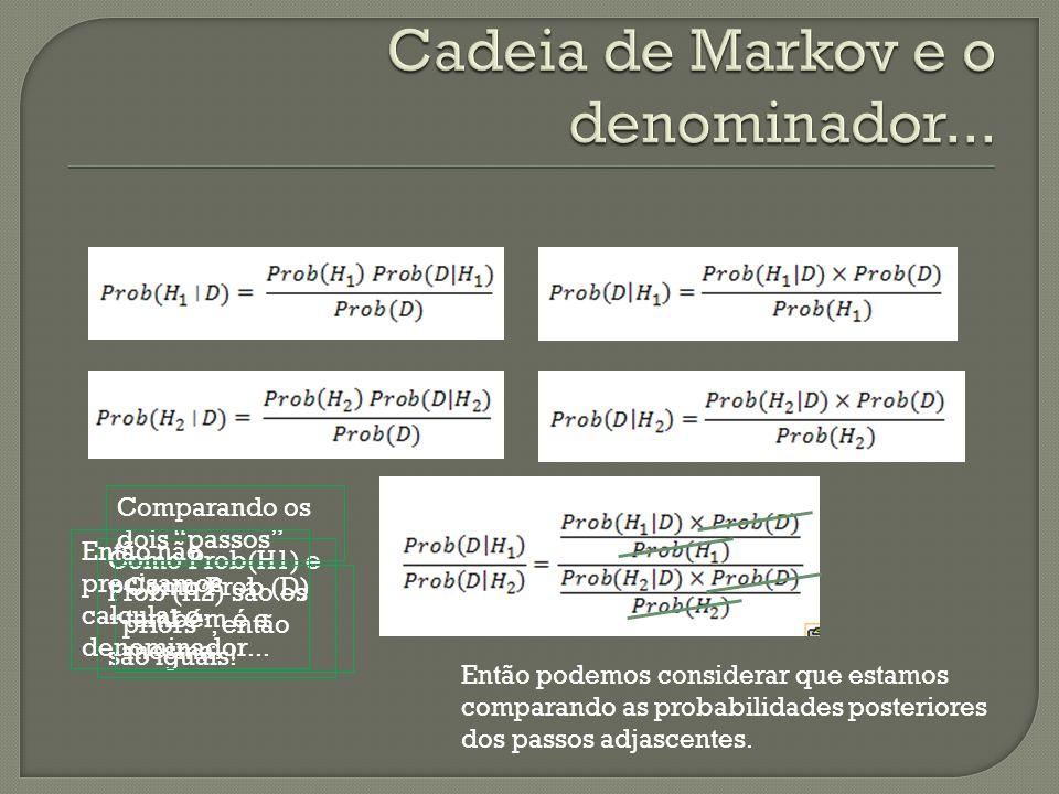 Como Prob(H1) e Prob (H2) são os priors, então são iguais! Comparando os dois passos Como Prob (D) também é a mesma... Então podemos considerar que es