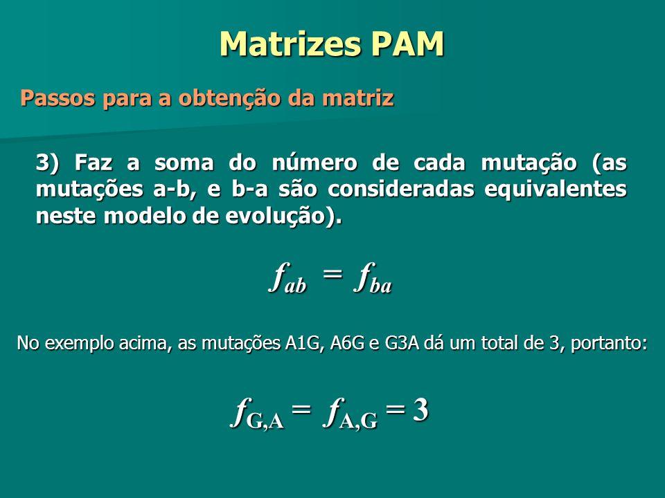 f G,A = f A,G = 3 f ab = f ba 3) Faz a soma do número de cada mutação (as mutações a-b, e b-a são consideradas equivalentes neste modelo de evolução).