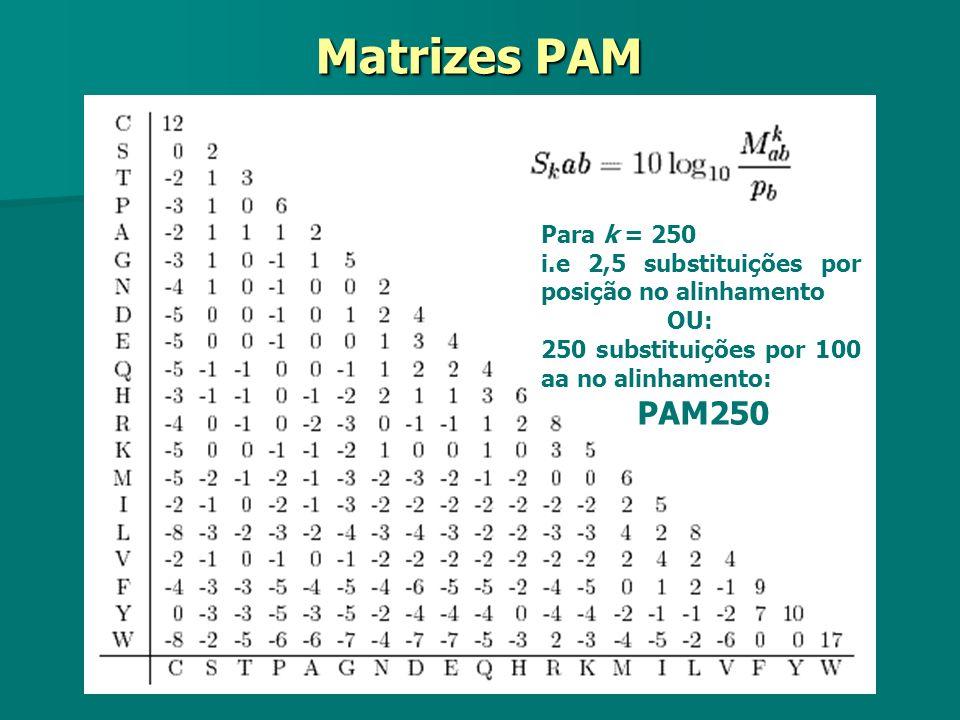 Para k = 250 i.e 2,5 substituições por posição no alinhamento OU: 250 substituições por 100 aa no alinhamento: PAM250 Para k = 250 i.e 2,5 substituiçõ