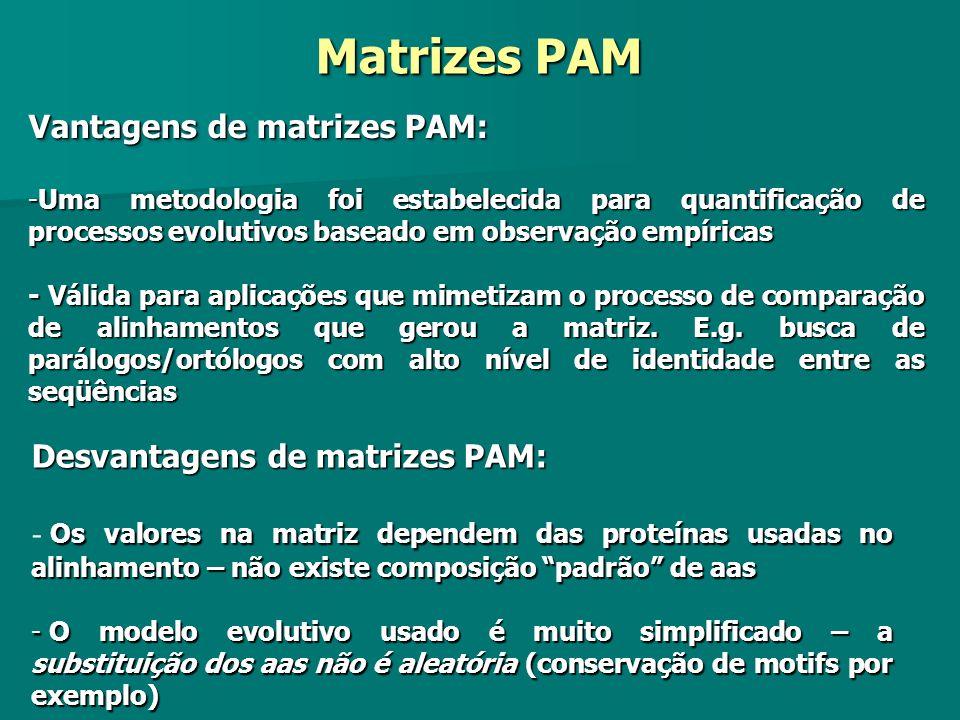 Vantagens de matrizes PAM: -Uma metodologia foi estabelecida para quantificação de processos evolutivos baseado em observação empíricas - Válida para