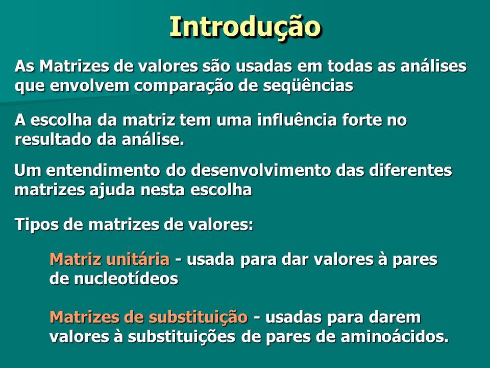 Tipos de matrizes de valores: As Matrizes de valores são usadas em todas as análises que envolvem comparação de seqüências IntroduçãoIntrodução Matriz