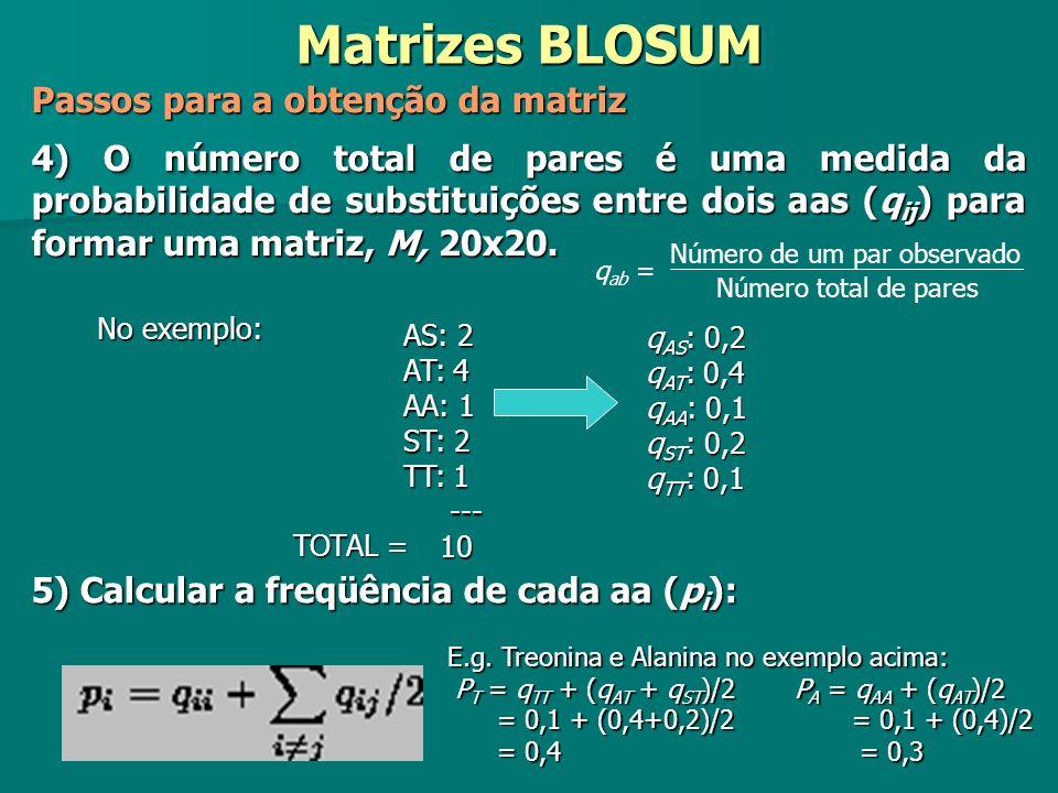 Matrizes BLOSUM Passos para a obtenção da matriz 4) O número total de pares é uma medida da probabilidade de substituições entre dois aas (q ij ) para
