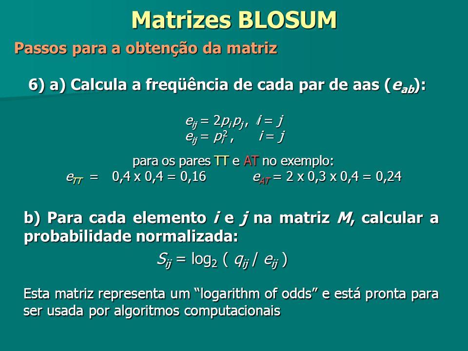 b) Para cada elemento i e j na matriz M, calcular a probabilidade normalizada: S ij = log 2 ( q ij / e ij ) Esta matriz representa um logarithm of odd