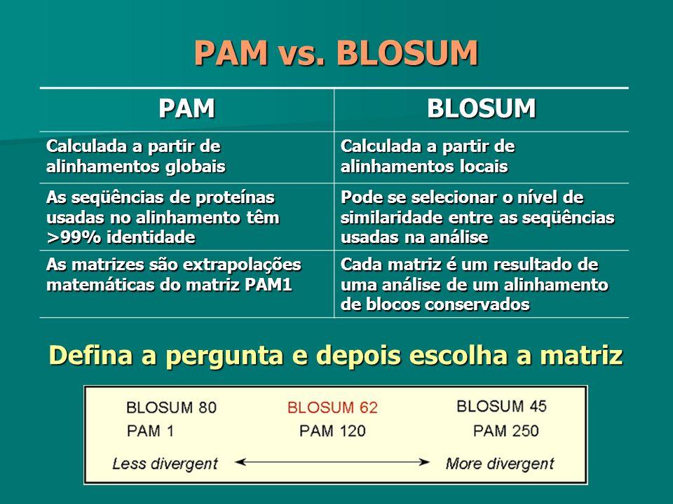 PAMBLOSUM Calculada a partir de alinhamentos globais Calculada a partir de alinhamentos locais As seqüências de proteínas usadas no alinhamento têm >9