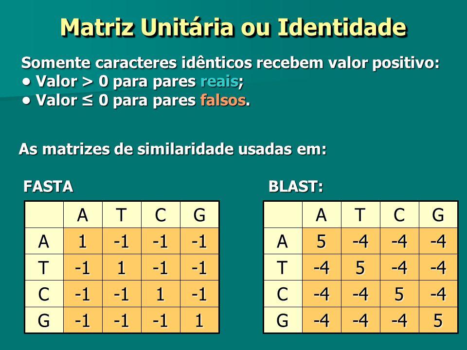 Matriz Unitária ou Identidade Somente caracteres idênticos recebem valor positivo: Valor > 0 para pares reais; Valor > 0 para pares reais; Valor 0 par