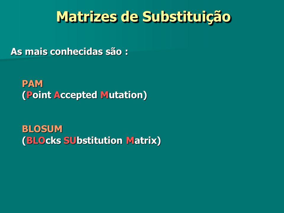 Matrizes de Substituição Matrizes de Substituição PAM (Point Accepted Mutation) BLOSUM (BLOcks SUbstitution Matrix) As mais conhecidas são :