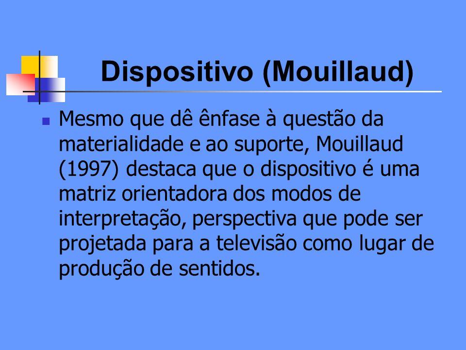 Dispositivo (Mouillaud) O processo produtivo por meio do qual opera mecanismos de significação acaba incidindo sobre a forma com que os receptores vão se relacionar com a oferta discursiva.
