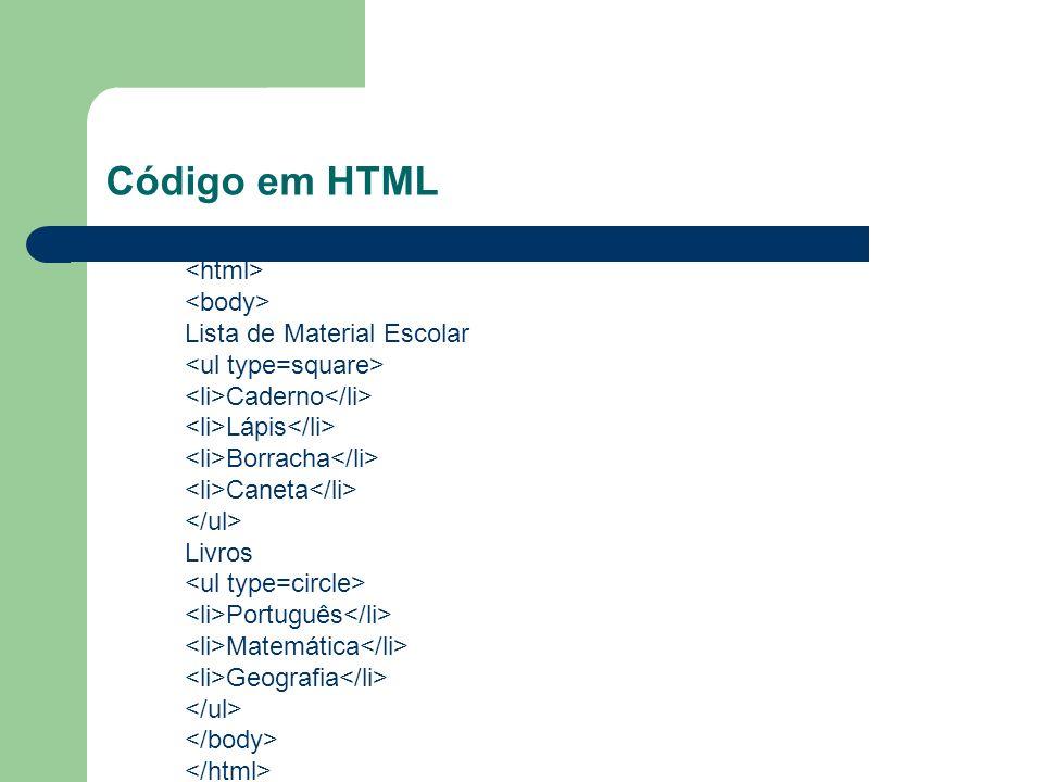Código em HTML Lista de Material Escolar Caderno Lápis Borracha Caneta Livros Português Matemática Geografia