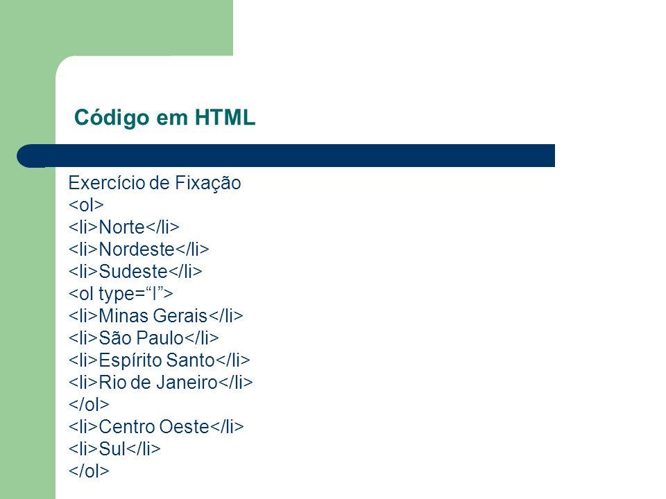 Exercício de Fixação Norte Nordeste Sudeste Minas Gerais São Paulo Espírito Santo Rio de Janeiro Centro Oeste Sul Código em HTML