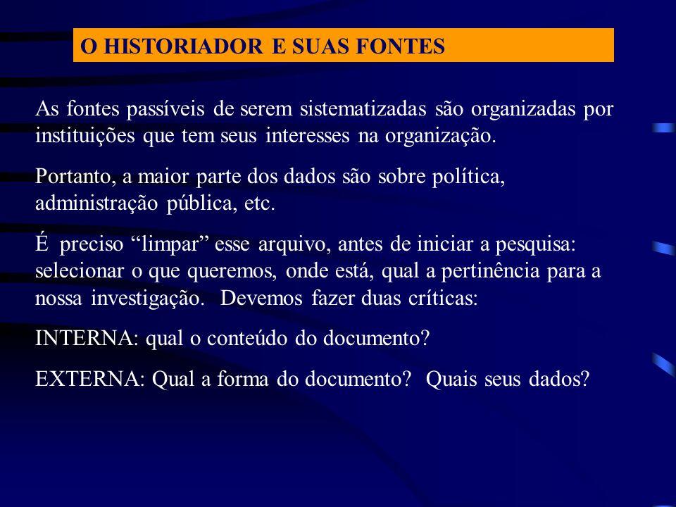 O HISTORIADOR E SUAS FONTES As fontes passíveis de serem sistematizadas são organizadas por instituições que tem seus interesses na organização. Porta